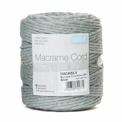 Macrame Cord 4mm: Silver Grey