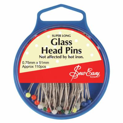 Glass Head Pins - Super Long