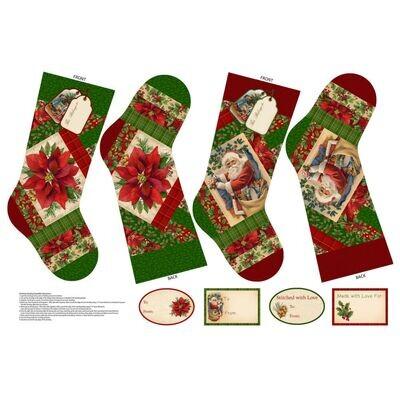 Old Time Christmas Stocking Panel