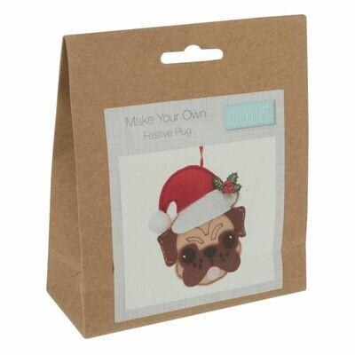Make Your Own Felt Pug with Santa Hat