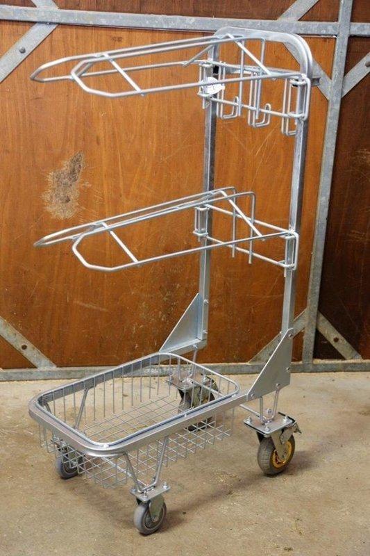 Saddle Trolley Heavy Duty w/ 2 Saddle Tiers, Storage Basket & 3 Bridle Hangers