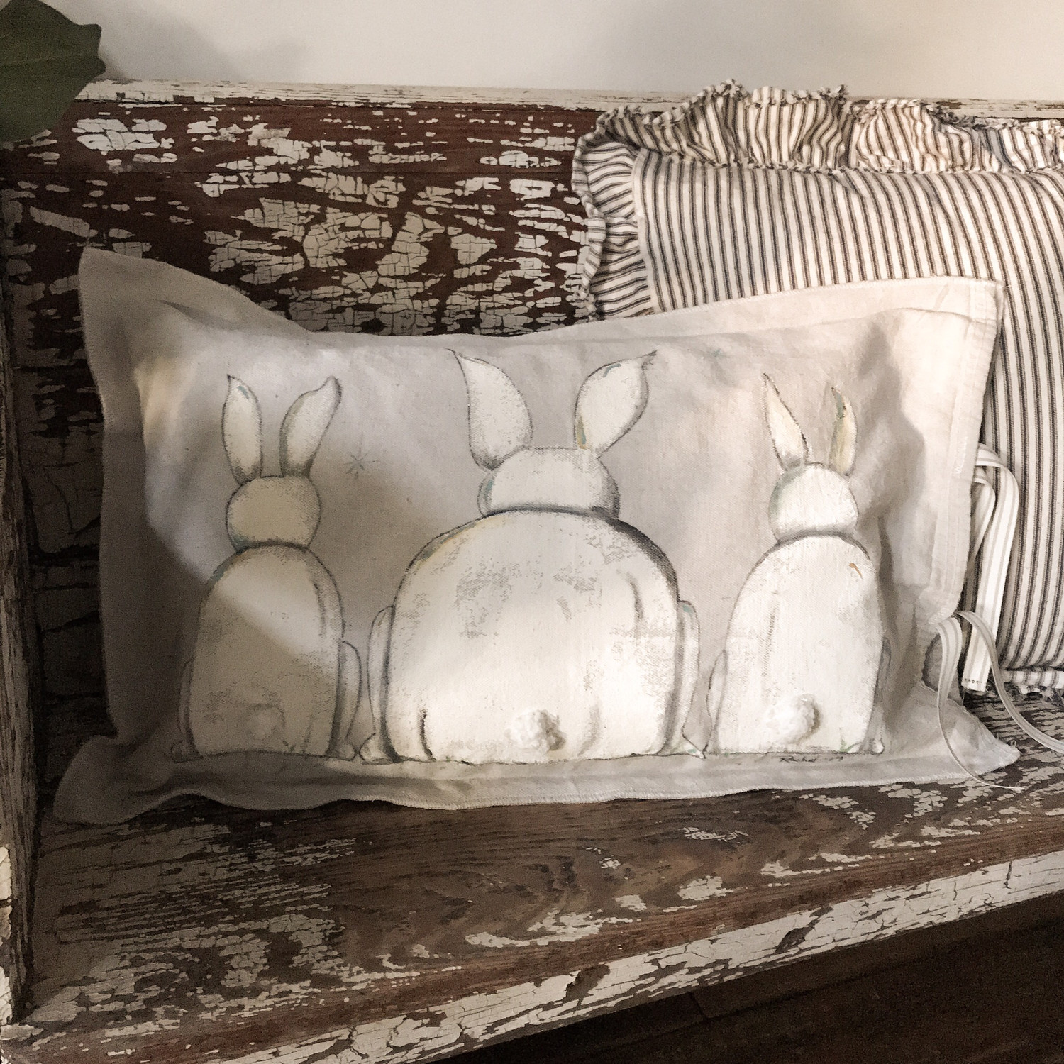 Bunny Tails Handpainted Pillow Cover