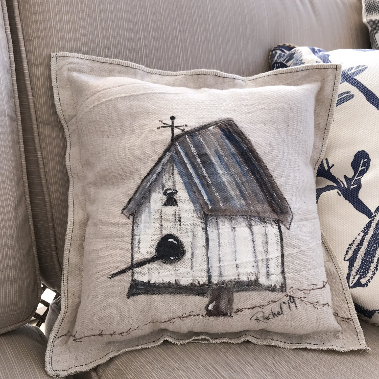 White Birdhouse Handpainted Pillow Cover