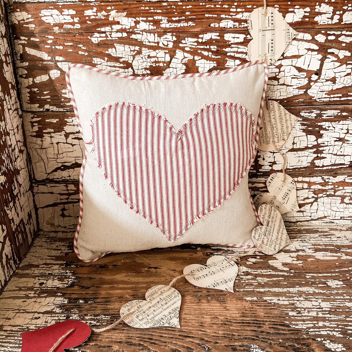 Distressed Ticking Heart Pillow Cover