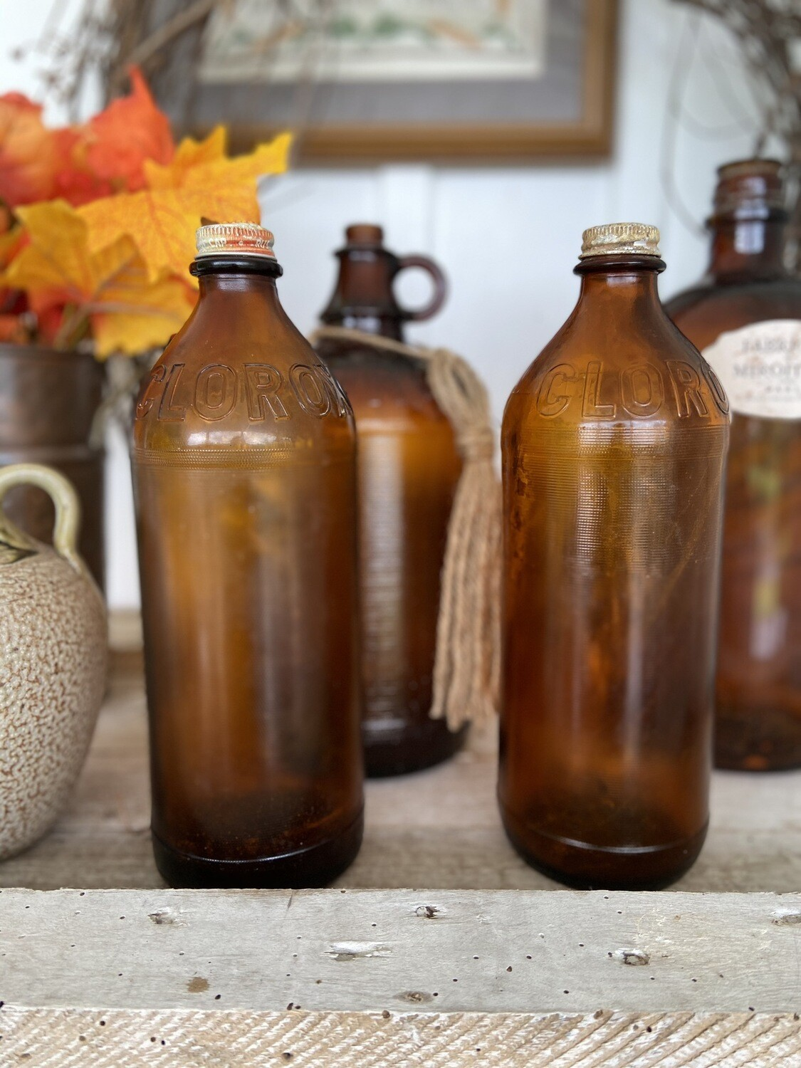 Vintage Amber Clorox bottle With Lid