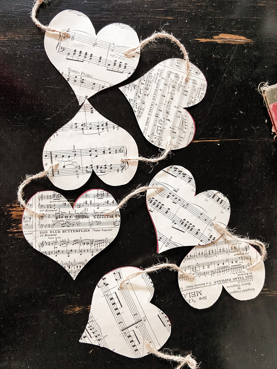 Valentines Garland From Vintage Sheet Music