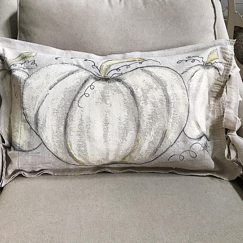 Hand painted Pumpkin Pillow Cover