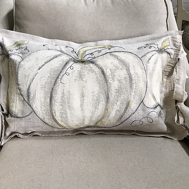 Hand painted Pumpkin Pillow Cover