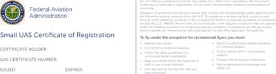 FAA Small UAS Aluminum Registration Card/Decal