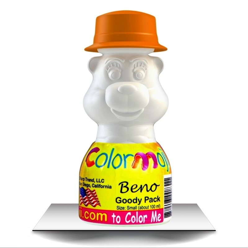 Colormoji Beno Bear Goody Pack - Canotier Hat - Empty or Filled Coloring Model - Small Size