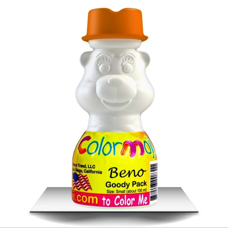 Colormoji Beno Bear Goody Pack - Cowboy Hat - Empty or Filled Coloring Model - Small Size