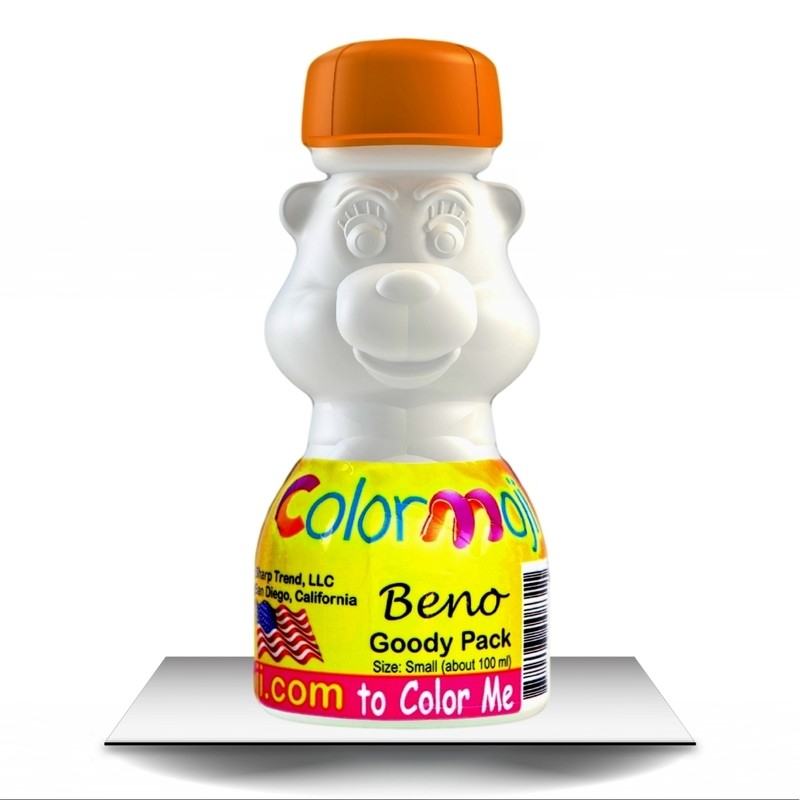 Colormoji Beno Bear Goody Pack - Sport Hat - Empty or Filled Coloring Model - Small Size