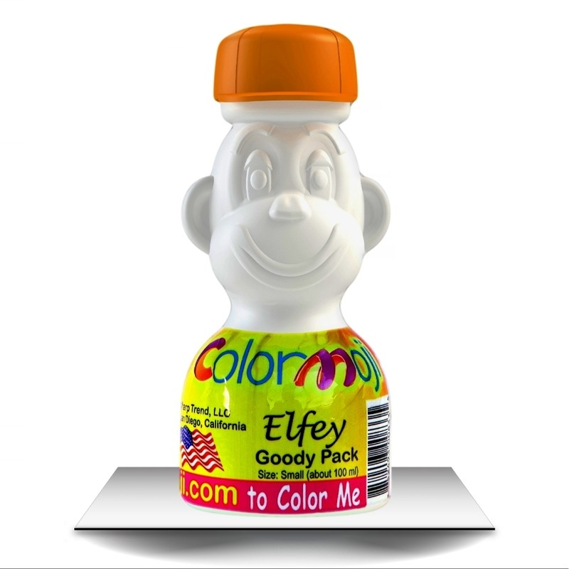 Colormoji Elfey Monkey Goody Pack - Sport Hat - Empty or Filled Coloring Model - Small Size