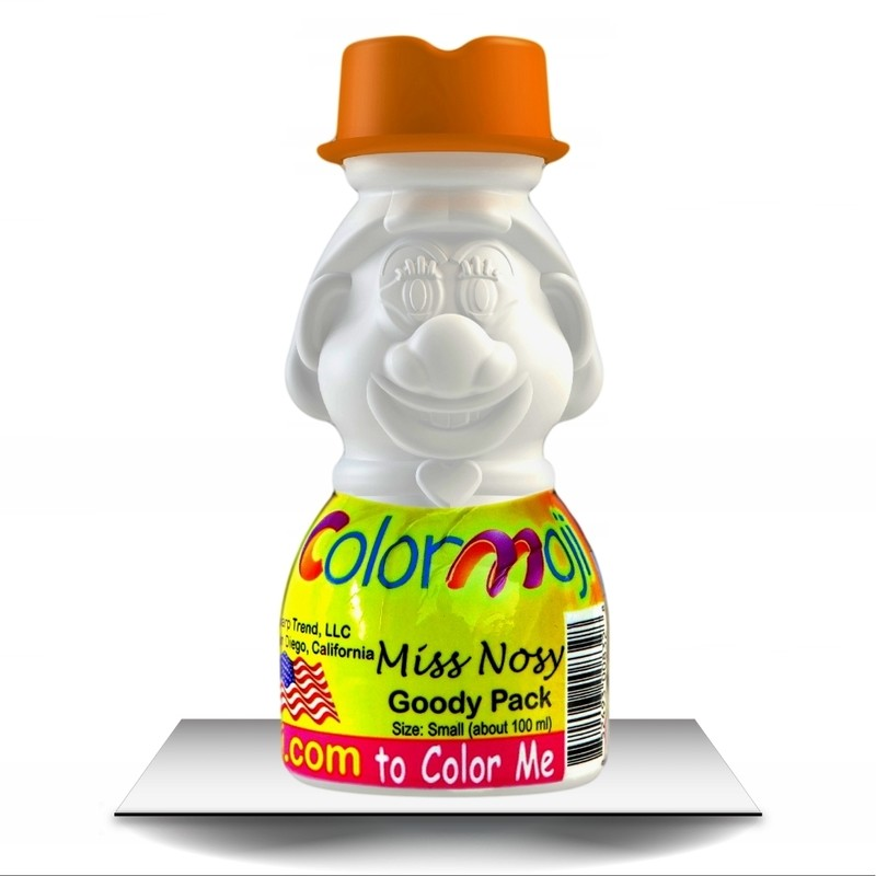 Colormoji Miss Nosy Goody Pack - Cowboy Hat - Empty or Filled Coloring Model - Small Size