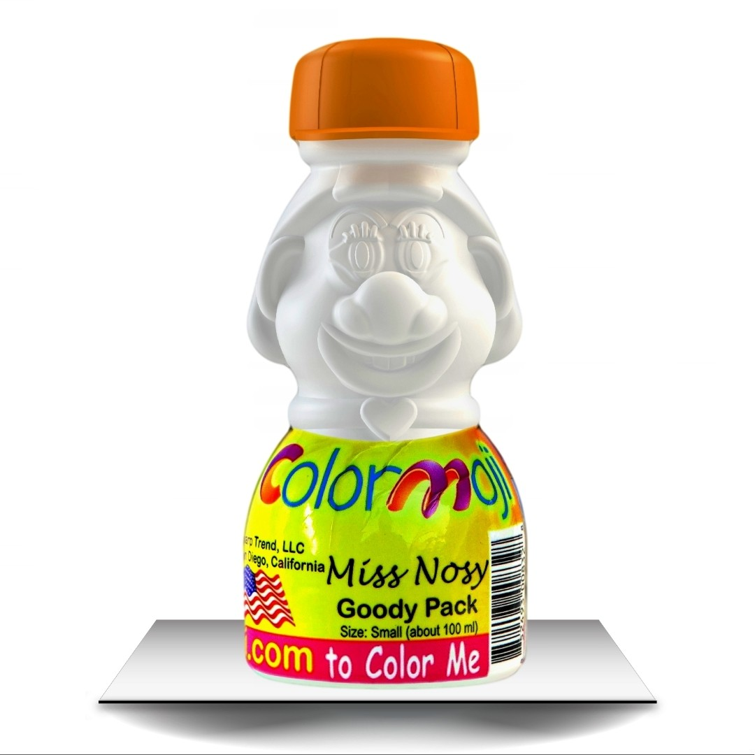 Colormoji Miss Nosy Goody Pack - Sport Hat - Empty or Filled Coloring Model - Small Size