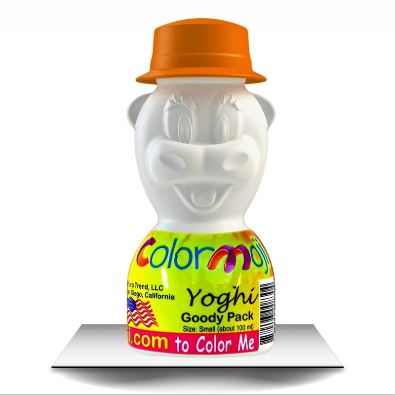 Colormoji Yoghi Cow Goody Pack - Canotier Hat - Empty or Filled Coloring Model - Small Size