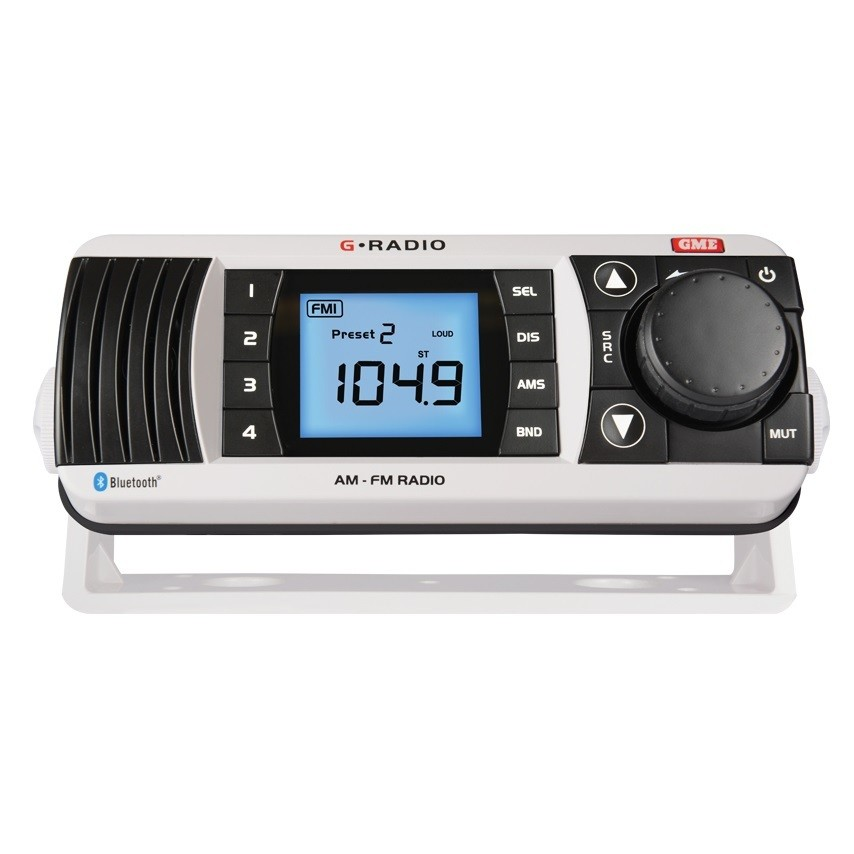 GME GR300BT AM/FM Marine Radio with Bluetooth - White