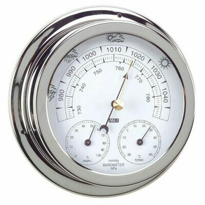 ANVI 32.0470 3-in-1 Barometer - Polished Brass & Chromed - Low Altitude