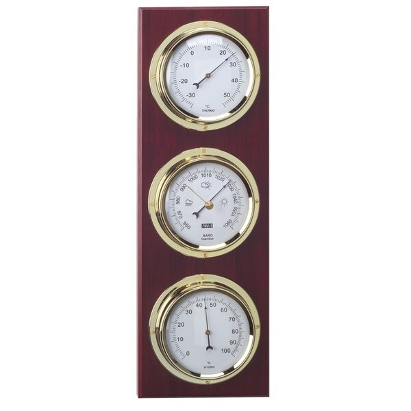 ANVI 30.3915 4-in-1 Barometer & Clock - Brass & Dark Wood - Low Altitude