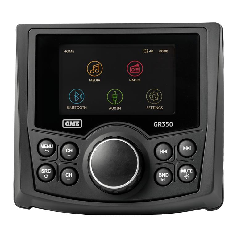 GME GR350BTB AM/FM Marine Stereo w/ Bluetooth & USB/AUX Input - Black