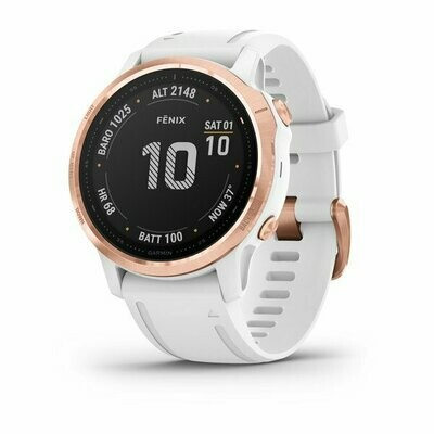 Garmin Fenix 6S Pro - Rose Gold w/ White Band