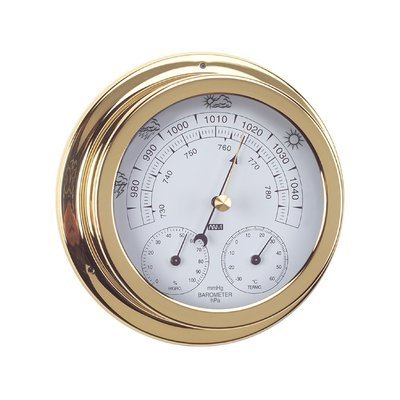 ANVI 32.0370 3-in-1 Barometer - Polished Brass & Lacquered - Low Altitude