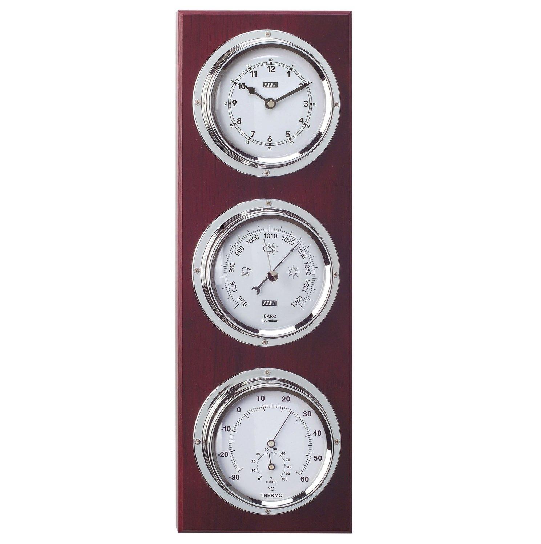 ANVI 30.3945 4-in-1 Barometer & Clock - Chrome & Dark Wood - Low Altitude