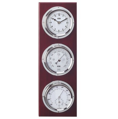 ANVI 30.3945 4-in-1 Barometer & Clock - Chrome & Dark Wood - Low Altitude