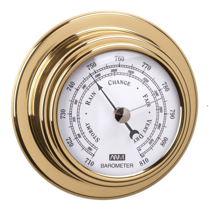 ANVI 32.1051 Barometer - Polished Brass & Lacquered - Low Altitude