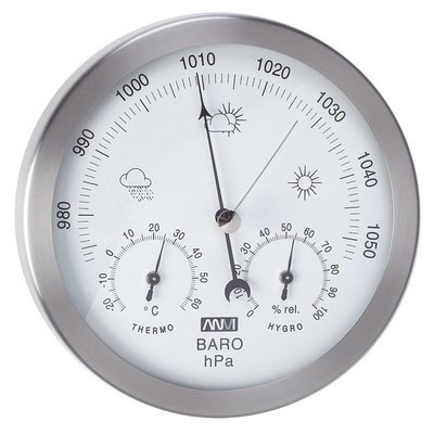 ANVI 29.1138 3-in-1 Barometer - Stainless Steel - Low Altitude