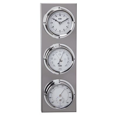 ANVI 29.0723 4-in-1 Barometer & Clock - Stainless Steel - Low Altitude