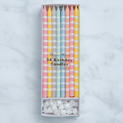 Pastel Party Stripe Candles