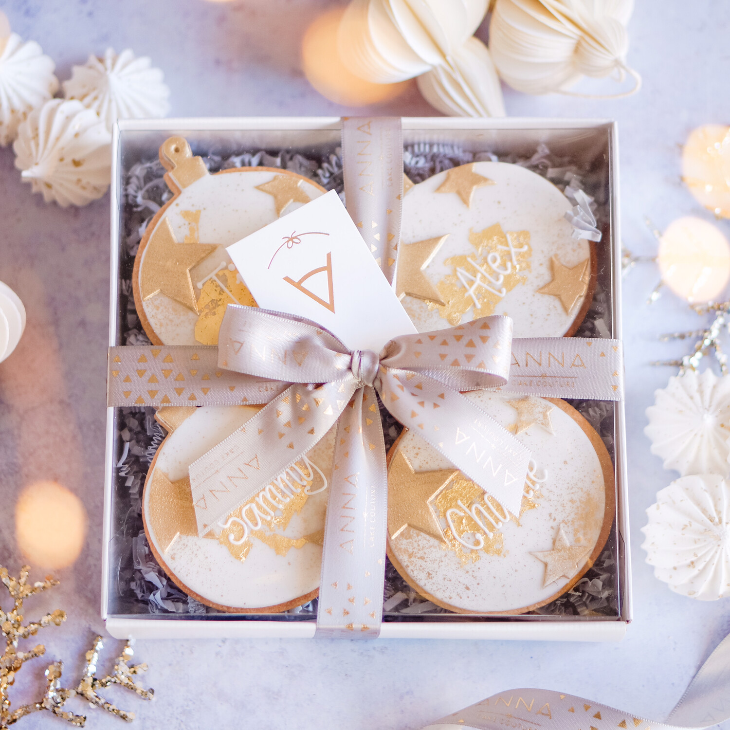 Personalised Gold Bauble Biscuit Box
