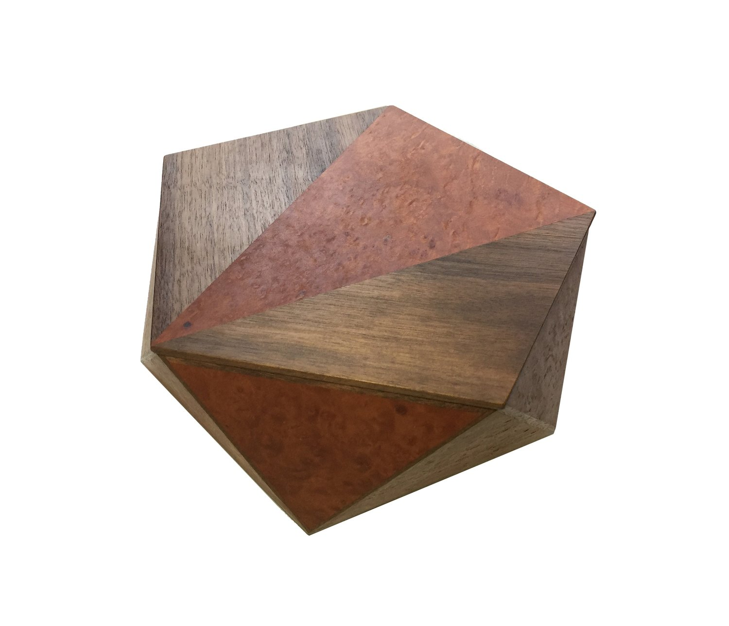 Pentagonal Box Madrona Burl with Walnut Detail