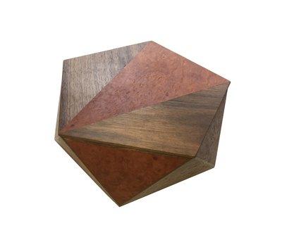 Pentagonal Box Madrona Burl with Walnut Detail