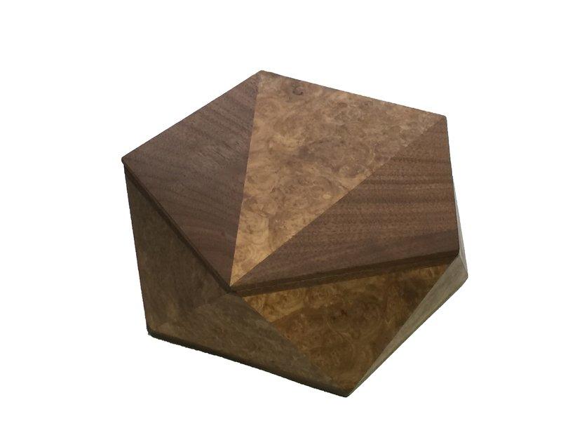 Pentagonal Box Walnut Burl with Walnut Detail