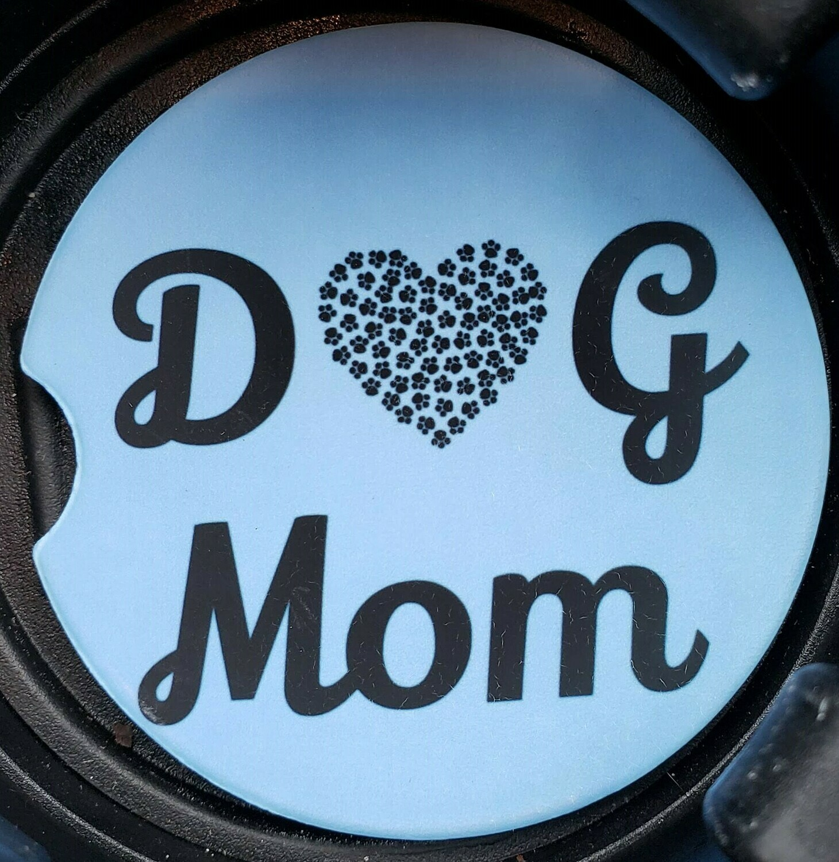 Dog Mom Sandstone Car Coaster - Set of Two