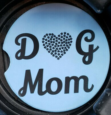 Dog Mom Sandstone Car Coaster - Set of Two