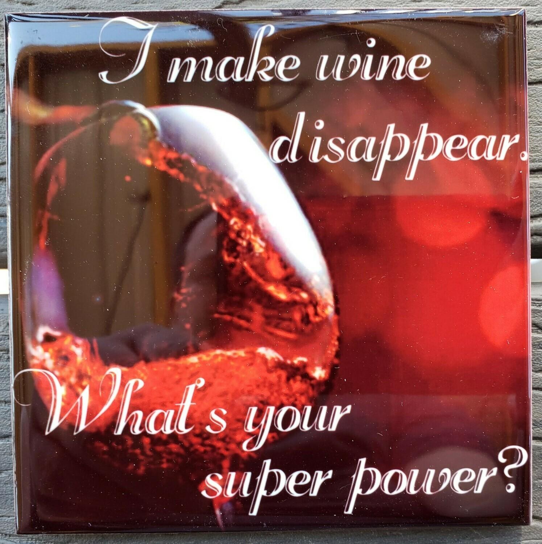 Make Wine Disappear Ceramic Drink Coaster