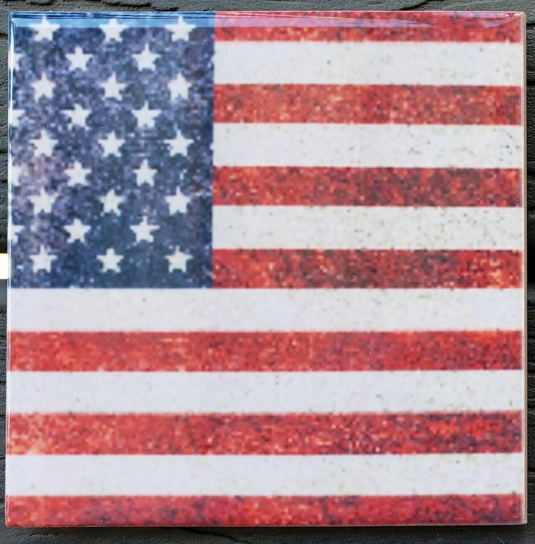 United States Flag Ceramic Drink Coaster - Set of Two