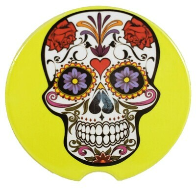 Sugar Skull Sandstone Car Coaster - Set of Two