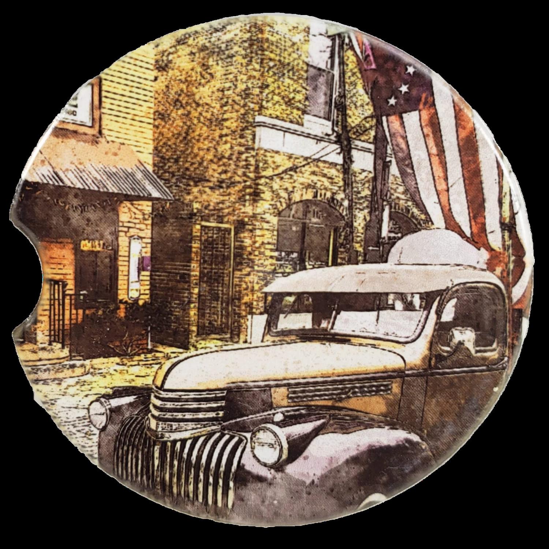 Vintage Main Street Sandstone Car Coaster - Set of Two