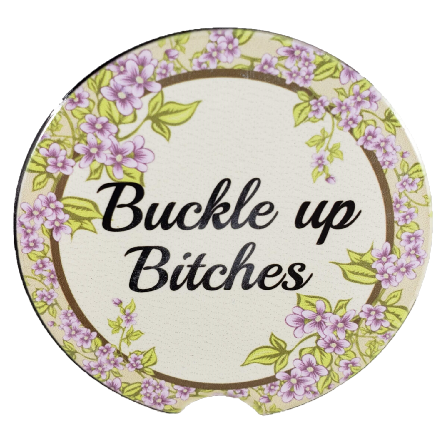 Buckle up Bitches Sandstone Car Coaster - Set of Two