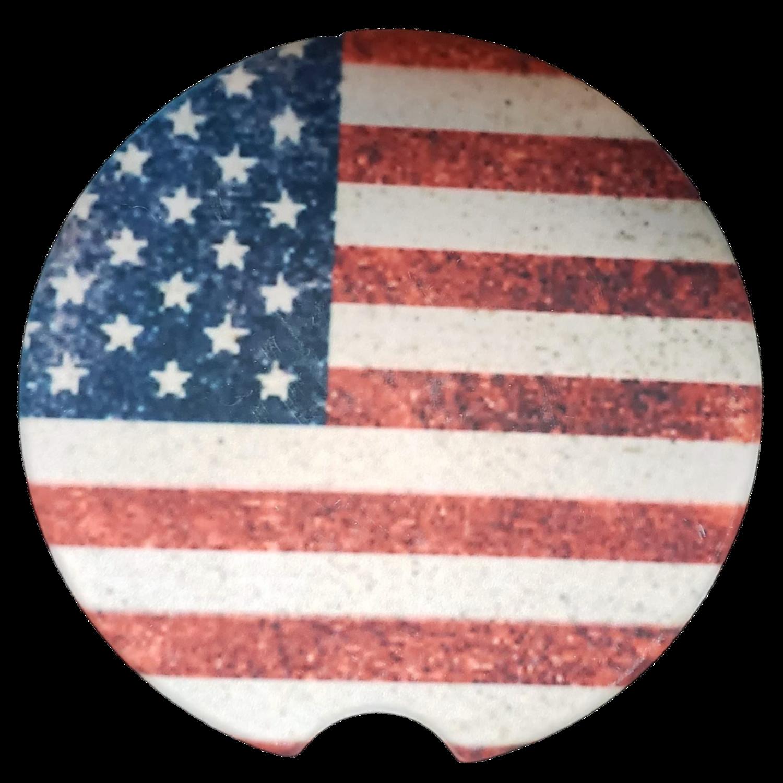 US Flag Sandstone Car Coaster - Set of Two