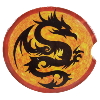 Fire Dragon Sandstone Car Coaster - Set of Two