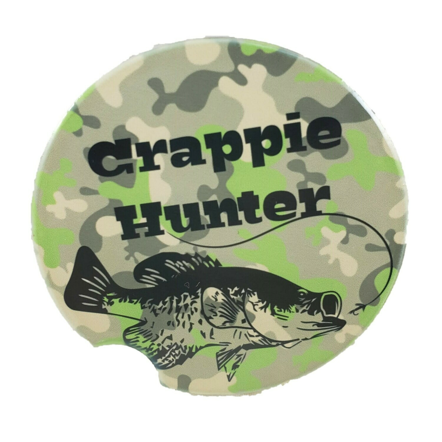 Crappie Hunter Ceramic  Car Coaster - Set of Two