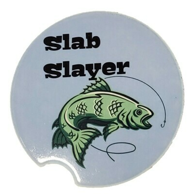Slab Slayer Crappie Car Coaster - Set of Two