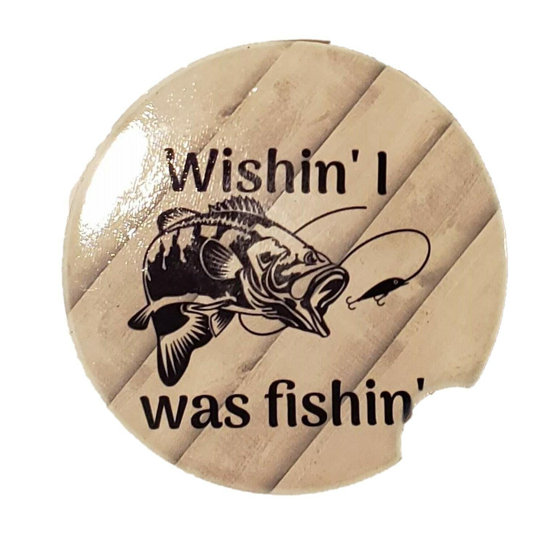 Wishin' I was Fishin' Car Coaster - Set of Two