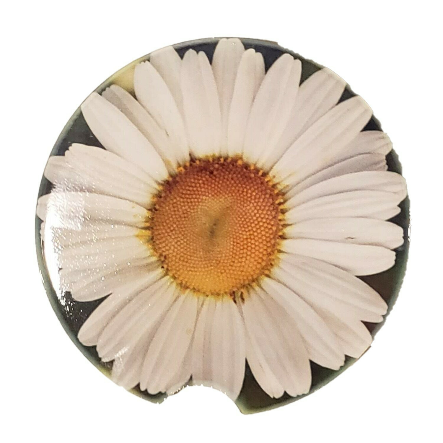 Daisy Ceramic Car Coaster - Set of Two