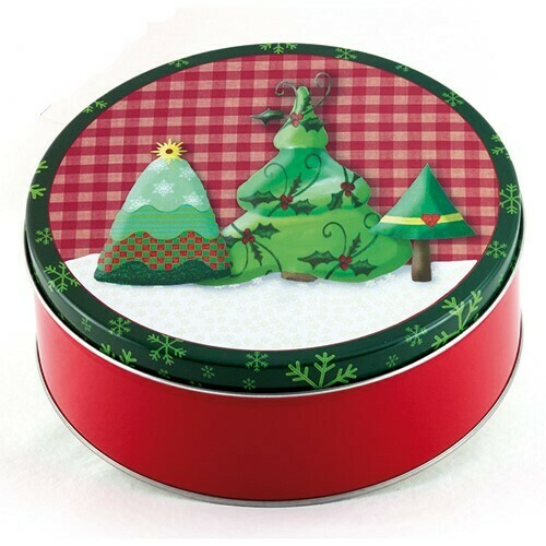 Country Christmas Candy Tin with 1 Pound of Fudge - Your Choice